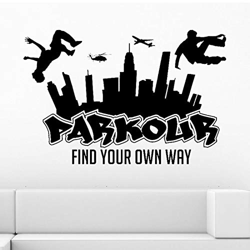 Dwzfme Pegatinas de Pared Parkour City Silhouette Boy Free Run Saltar City Style Skateboard Graffiti Art Find Your Own Way 113x76cm