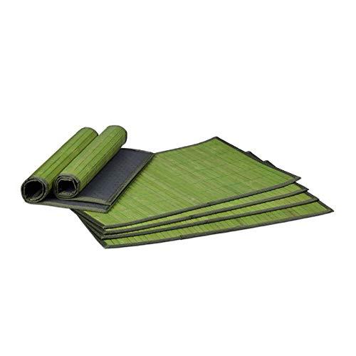 Relaxdays Tischset 6 teilig, Platzdeckchen, Bambus, rutschhemmende Unterseite, 30 x 45 cm, 6er Platzset, 6 Tischmatten, abwischbar, grün