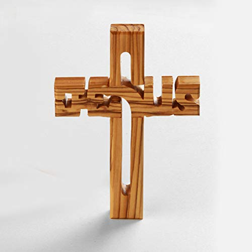 KASSIS Olivenholz Jesuskreuz zum Aufhängen Wandkreuz Deko Geschenk zur Firmung Geburt Kommunion Taufe 20 x 14 cm