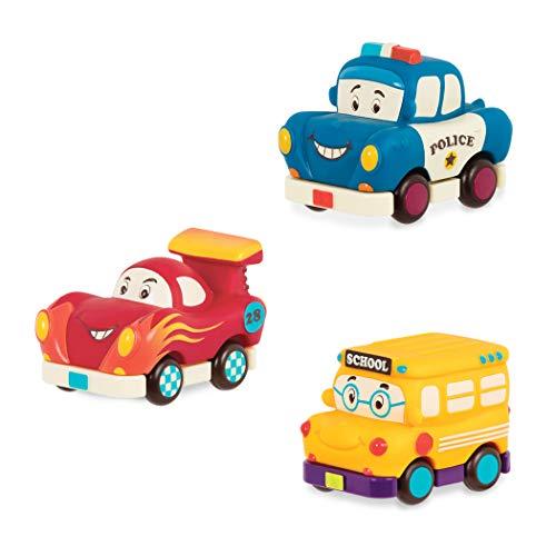 B. toys by Battat - Mini Pull-Back Vehicles Set, Bus & Cars, Multi, 3Pc Hot Rod, School Bus, Police Car