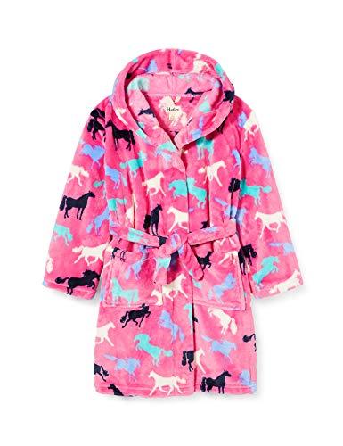 Hatley Mädchen Fuzzy Fleece Robe Bademantel, Pferd Silhouetten, Small (2-3 Years)