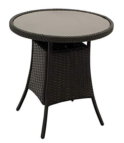 gartenmoebel-einkauf Beistelltisch Bistrotisch Varese 60cm rund, Höhe 63cm, Metallgestell + Bespannung Polyrattan schwarz, Tischplatte Glas schwarz