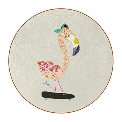 Posavasos de Redondo Resistente al Calor Flamenco de Dibujos Animados Conjunto de 6, Diseño Decorativo Moderno para Vidrio Tazas Hogar Oficina Mesa Restaurante Cafetería 11cm