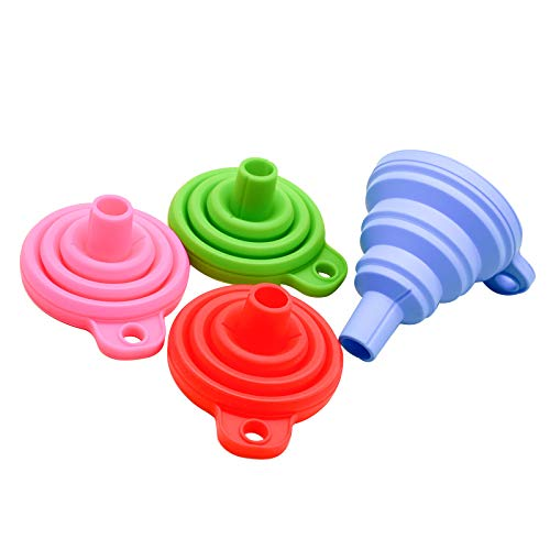 Embudo plegable de silicona para el hogar, herramientas de cocina, portátil, vino, mini embudo de aceite portátil (color 1 pieza al azar, 11 g)