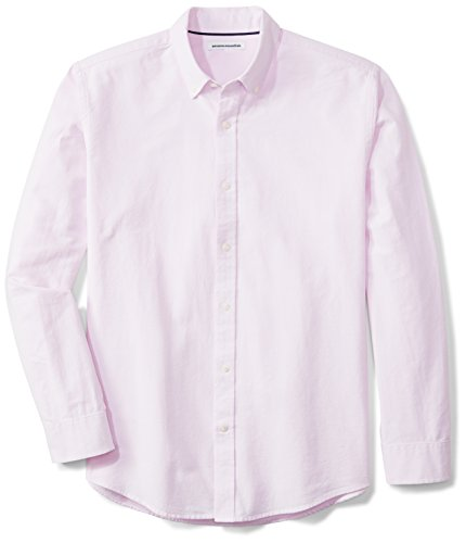 Amazon Essentials Men's Regular-Fit Long-Sleeve Solid Oxford Shirt, Pink, XX-Large