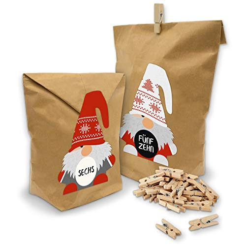 itenga DIY AdventskalenderSet Wichtelbande zum Selberbefüllen Geschenktüten + Klammern + Sticker (Wichtelsticker + Adventskalenderzahlen Motiv Z23)