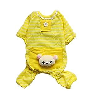 Daisy ciel rose bleu jaune ours Lovely confortable poche Combinaison Pyjama en coton doux à rayures pour chien chiot Pet vêtements pour chiens de petite taille