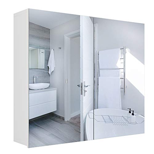 Homfa Mobile pensile con Specchio con 2 Ante a Specchio e mensola a Muro Regolabile 70 × 15,3 × 59,7 cm Bianco