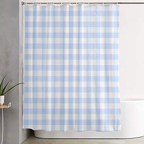 KGSPK Cortinas de Ducha,Tela Escocesa de Cuadros Vichy Azul Claro sin Costuras,Cortina de baño Decorativa para baño,bañera 180 x 180 cm