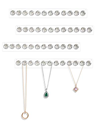 Acrylic Necklace Holder Set of 4, Wall Mounted Jewelry Organizer Hanging with 12 Diamond Shape Hooks, Clear Necklaces Hanger, Jewelry Hangers for Necklace, Bracelet, Gift for Girls Women