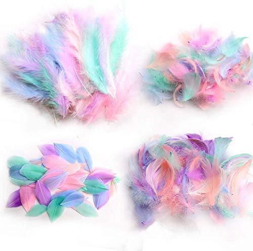 Plumas de ganso de colores para manualidades, bodas y decoración de fiestas,...