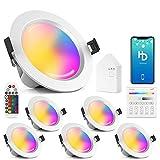 Juego de 6 focos LED empotrables de 15 W y 1200 lm, WiFi, Bluetooth, RGBW + CCT, 5 en 1, foco regulable, 230 V, con mando a distancia, interruptor táctil, puente de malla