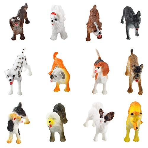 Larcele 12 Kinds Simulated Mini Plastic Animal Model Dog Toy Figures for Kids FZG-01 (Dog)