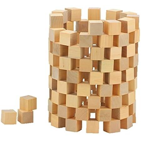 ST TS 木製 積み木 キューブ ブロック天然 原木 無着色 子供 算数 体積 図形問題 知育 小学生 つみき 100個セット