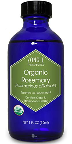 Zongle USDA Certified Organic Rosemary Essential Oil, Safe To Ingest, Rosmarinus Officinalis, 1 OZ