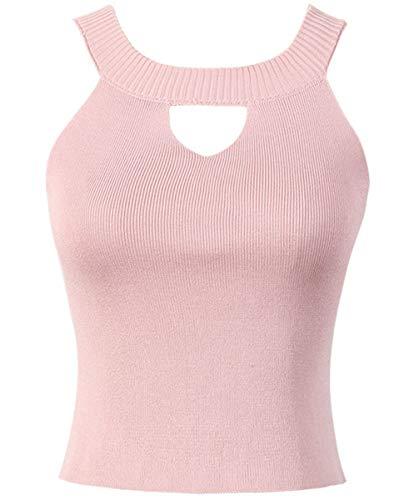 HHXWU Strickwaren hängenden Hals Off-The-Schulter-Unterwäsche-Shirt Volltonfarbe Slim Fit Damen-Strickweste, rosa, eine Größe