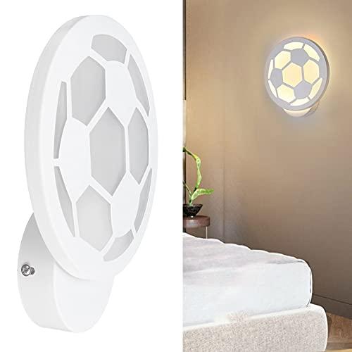 Lámpara de pared de cabecera, luz de pared con forma de fútbol 12 W, blanco cálido para el hogar, cafés, dormitorios, pasillos para pasillos, restaurantes, escaleras, barras