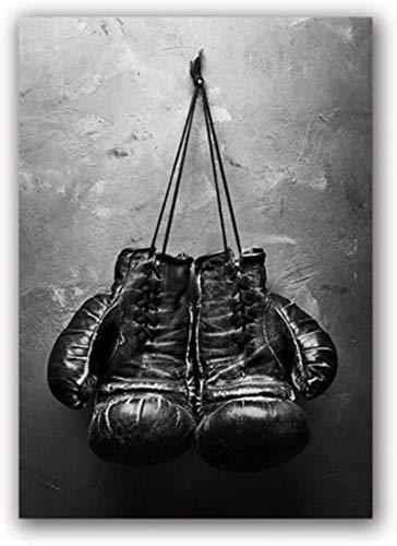 HHLSS Nordic Stil 60x80cm ohne Rahmen Vintage Art Boxhandschuhe Poster Schwarz-Weiß-Wandbild Sportgemälde für Wohnzimmer Home Decor