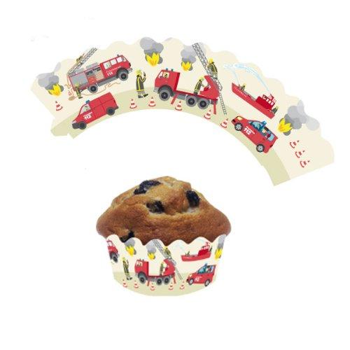 DH-Konzept Deko-Banderolen für Muffins Spannende Feuerwehr 12er Pack