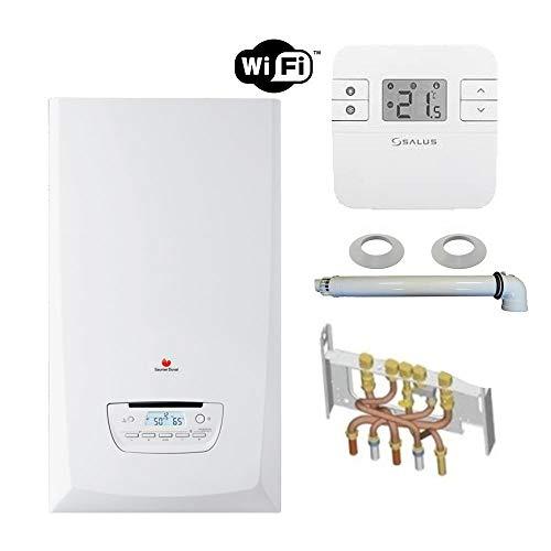 Chaudière Gaz Condensation ThemaPlus Condens Saunier Duval 30 kW Complète (Ventouse + Douilles + Dosseret) avec Thermostat Connecté
