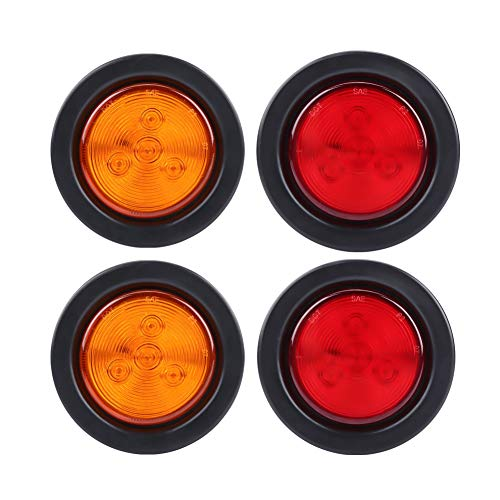 4pcs 2.5inch rond LED feux de position arrière avant de feux de position pour remorque cabine de camion