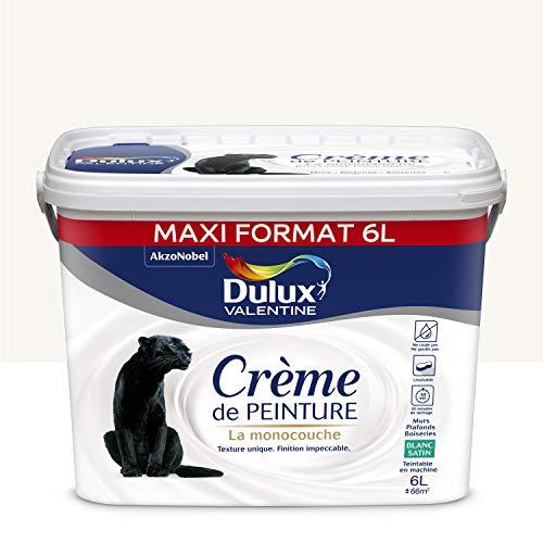 Dulux Valentine Crème de peinture - Murs, Plafonds, Boiseries - Satin Blanc 6L
