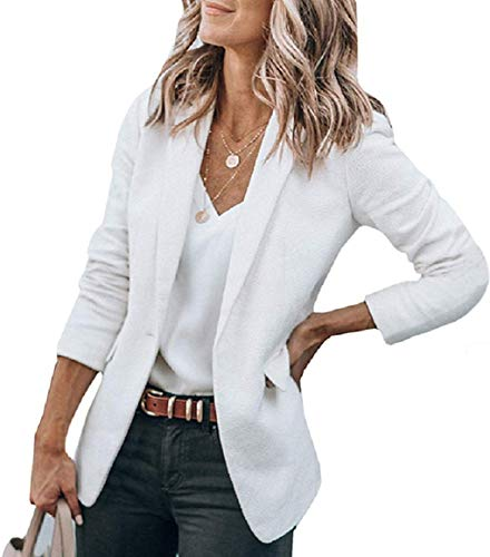 Alexander + David Women's Open Front Blazer Jacket Suit, Loose Fit ¾ Sleeve Woven Work Blazer with Pockets (Sand, Large)