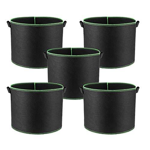 Alumuk 5er Pack Pflanzsack aus Vliesstoff - 30 Gallonen, ca. 115 Liter - Pflanztasche Kartoffelsack Pflanzbeutel Garten Sack aus Fliesstoff zum Bepflanzen Pflanzgefäß Pflanzbehälter
