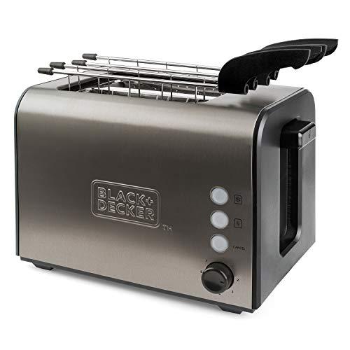 Black+Decker BXTOA900E Tostadora de pan con 2 ranuras extra anchas, 7 niveles de tostado, sistema de pinzas extraíbles, funciones: Stop, Recalentar y Descongelar, 900 W, Acero Inoxidable, Inox