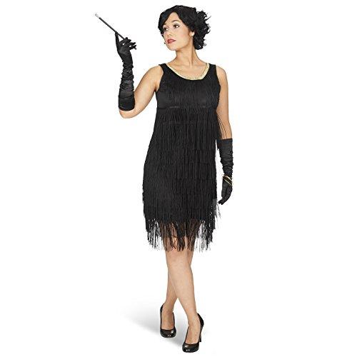 Andrea Moden Charleston Kleid Iza mit Fransen Mini Kostümkleid Damen 20er Jahre, schwarz - 36/38