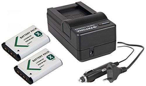 3in1-SET für die Sony RX100 I II III IV V VI Digitalkamera - kompatibel mit Sony Akku NP-BX1 - 2 Ersatzakkus + Schnell-Ladegerät mit Kfz-Lader (12V)