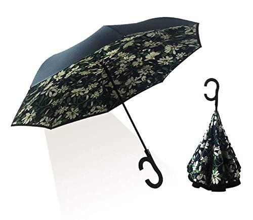 Powzz ornament Paragüero automático creativo para hombre y mujer, paraguas soleado, Gardenia_58,5 x 8 K