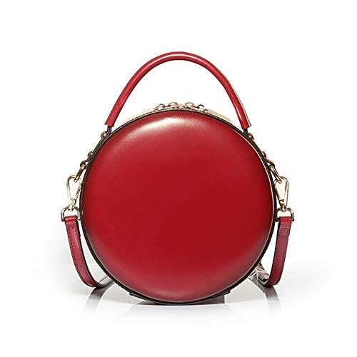 Rode leren handtas kleine ronde tas retro long schoudertas mini cosmetische tas 19 * 9 * 25 (cm).