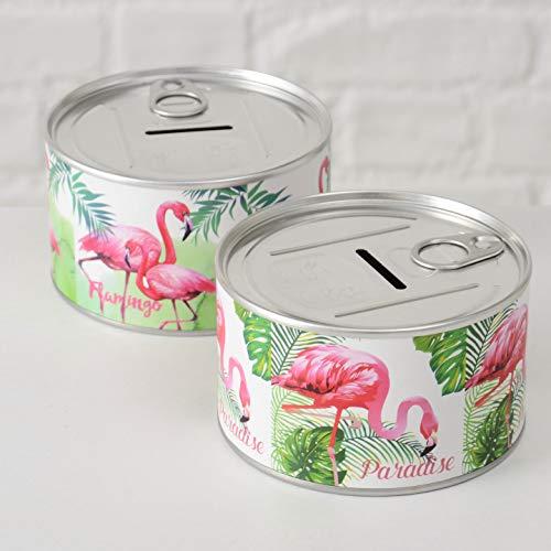 Home Collection Spardose 2er Set Sortiert Reise Kasse Tropical Flamingo Paradise H6cm D10cm