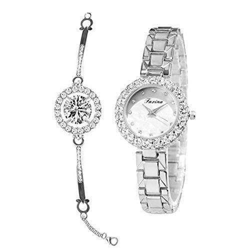 Damnef 2 Teile/Satz Frauen Elegante Quarzuhr wasserdichte Mode Armbanduhr Set Armbanduhren