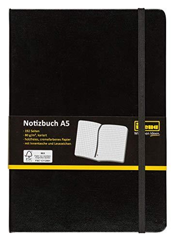 Idena 209281 - Notizbuch FSC-Mix, A5, kariert, Papier cremefarben, 96 Blatt, 80 g/m², Hardcover in schwarz, 1 Stück