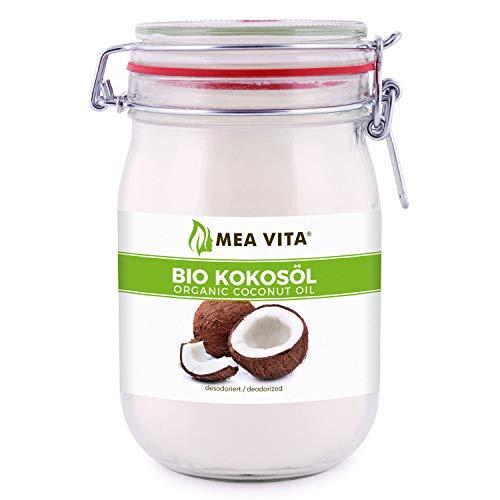 MeaVita Olio di Cocco Meavita, Insapore (Deodorato), Confezione da 1 (1X 1000 Ml) in Un Barattolo da Stiro - 1000 ml