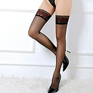 XSWY Stockings Women Thigh High Sheer Lace Fishnet Stockings Hosiery Ladies Red Black White Hollow Out Mesh Stocking (Color : Red Style 6)