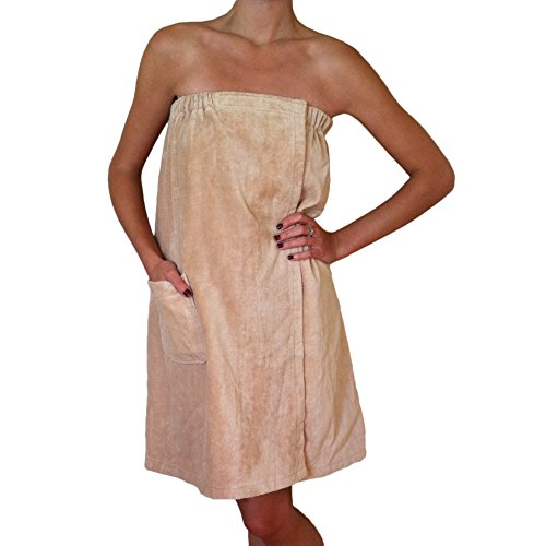 Radiant Saunas SA5328 Women's Spa & Bath Terry Cloth Towel Wrap, Tan