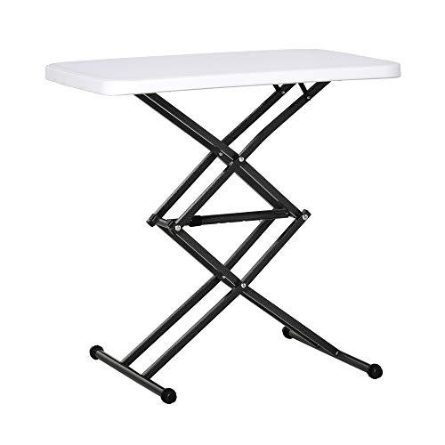Outsunny Tavolino Pieghevole da Giardino in Metallo e PE, Altezza Regolabile su 4 Livelli, Nero e Bianco, 64x46x34-64cm