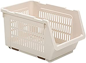 HOUZE MS-2301-ALMOND Stackable Multi Purpose Rectangle Basket, Beige, Dim: 34.5x24x20cm