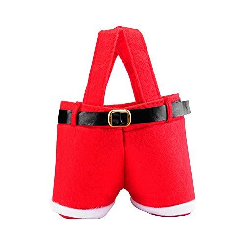 Balight Bolsa de pantalones de Papá Noel, bolsa de regalo Bolsa de botella de vino de Navidad Juego de 6