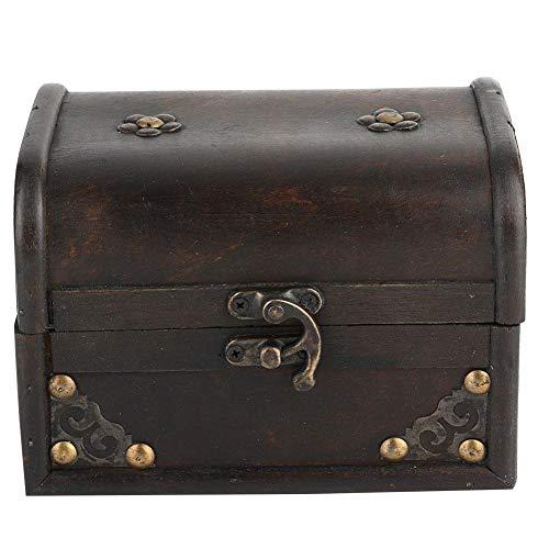 Pequeña caja de almacenamiento vintage de madera artesanal negra, caja decorativa hecha...