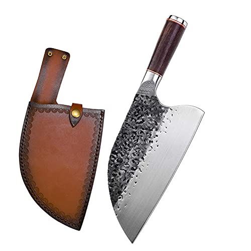Handmade Forged Serbian Meat Cleaver Knife with Sheath Chef's knvies Full Tang Butcher Knife Outdoor...