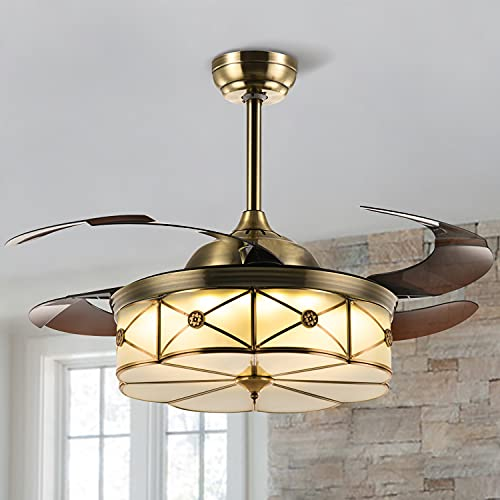 SILJOY 36 Inch Retractable Ceiling Fan with Lights and Remote Dimmable Led...