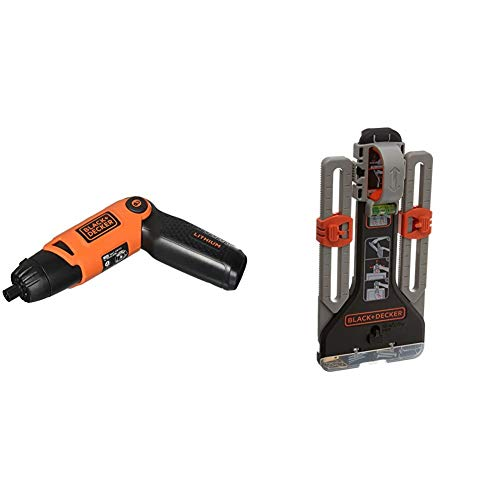 BLACK+DECKER Cordless Screwdriver with Pivoting Handle, 3.6V with MarkIT Picture Hanging Kit (Li2000 & BDMKIT101C)
