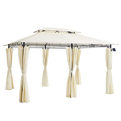 Cherry Tree Furniture 3 x 4m Gazebo with Curtains Canopy Party Tent with 60pcs Solar LED Lights (Beige)