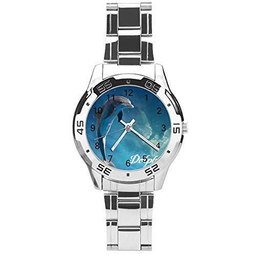 Klassiek driehands kwarts horloge met roestvrij stalen band, wijzerplaat Dolfijn teken dier patroon, verstelbare automatische riem, zilver, voor Unisex,Beste cadeau (41mm) lmsupmv088rt