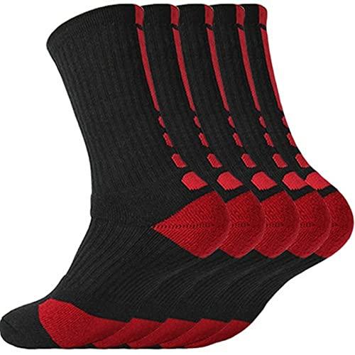Shawari Calcetines Deportivos para Hombre con amortiguación Terry Baloncesto Ciclismo Correr Senderismo Tenis Conjunto de Calcetines Esquí Mujeres Algodón 5 Pares