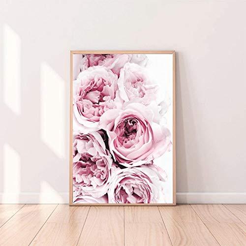 Rose Kunst rosa und graue Blumen malen Wand Leinwand Poster nordische Drucke dekorative Malerei moderne Hauptschlafzimmer Dekoration Leinwand Malerei A56 30x40cm